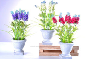 Artificial Colorful Lavender in Cement Urn for All Public Decoration