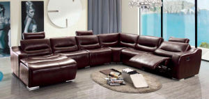 Living Room Furniture Modern Sofa with Recliner Leather Corner