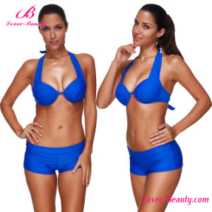 Royal Blue Wireless Plus Size Sexy Mature Bikini Swimwear