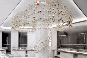 Custom Lighting Modern Fashion Art Hotel Lobby Decorative Glass Leaf Chandelier