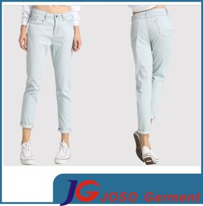 Light Green Cropped Denim Jeans Pants for Girl (JT1312) pictures & photos