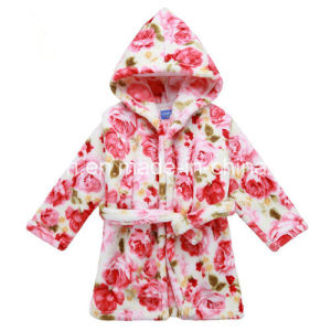 Children′s Hooded Bathrobe Flannel Nightgown
