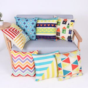 Digital Print Decorative Cushion/Pillow with Geometric Pattern (MX-66) pictures & photos