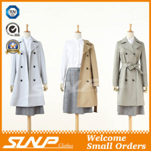 Women′s Double Breasted Winter Outerwear Jacket Long Trench Overcoat