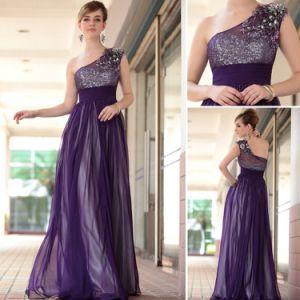 Hot Sale New Arrival Sexy Sample One Shoulder Purple Chiffon Evening Dress