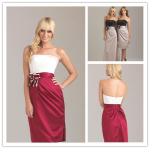 9e1e997df2f China New Hot Short Satin Strapless Sleeveless Flower Elegant Red and White  Bridesmaid Dresses - China Bridemaid Dress 2014