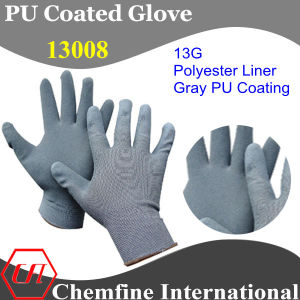 13G Gray Polyester Knitted Glove with Gray PU Smooth Coating pictures & photos
