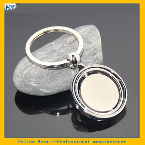 Three Layers Circle Round Shape Rotating Zinc Alloy Blank Spinning Keychain