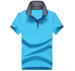 Men′s 3D Embroidery Single Jersey Fabric Custom 180GSM 97 Cotton 3 Spandex Polo T Shirt pictures & photos