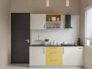China Melamine Paper Finish Wall Cabinet Parallel Shape Kitchen