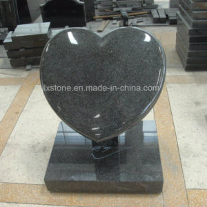 G654 Grey Granite Cushion Heart Design Gravestone