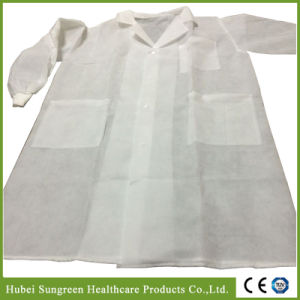 SMS Non-Woven Lab Coat, Visitor with Knitted Cuffs pictures & photos