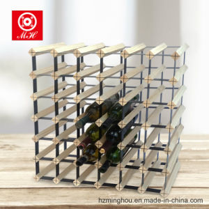 42 Bottles Solid Wood Furniture Wine Rack with Metal Pieces