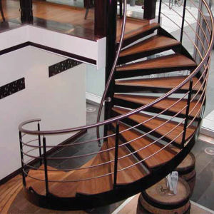 Steel Staircase with Wood Treads and Stainless Steel Railing pictures & photos