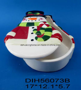 Hand-Painted Ceramic Snowman-Shaped Cookie Box pictures & photos