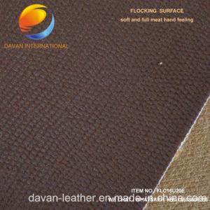 High Quality of Artificial Leather for PU Shoe with Flocking Surface pictures & photos