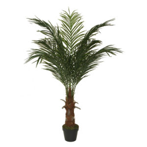 china polyester artificial phoenix palm tree plants with plastic pot