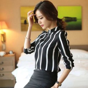 Casual Women Full Sleeve Chiffon Blouse Women Office Shirts pictures & photos