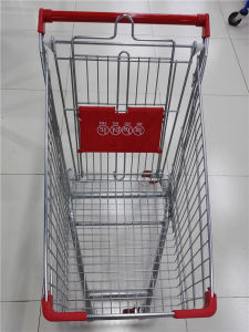 High Quality Metal Supermarket Four Wheel Shopping Trolley pictures & photos