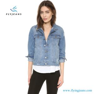 b6fd95054d27 China Holes and Fading Woman Short Denim Jacket - China Ladies Jeans ...