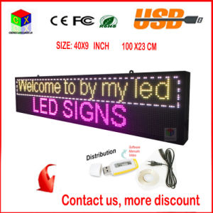 LED Display Panel Wireless and USB Programmable Rolling Information P6 Indoor 40X9 Inch Full-Color RGB LED Sign