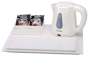 Hotel 0.8L Ivory Cordless Plastic Electric Kettle and Tray Set pictures & photos