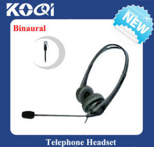 Professional Binaural Call Center Headset Direct with Rj09 Plug, Telephone Earphone pictures & photos