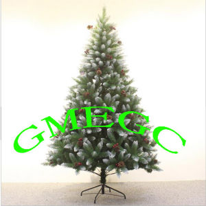 manufacturers selling spray albino warhead 150cm christmas tree with red berries and pine cones pvc christmas
