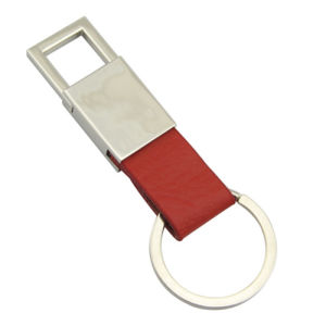 Promotion Metal Leather Key Chain with Laser Engrave Logo (F3006C)