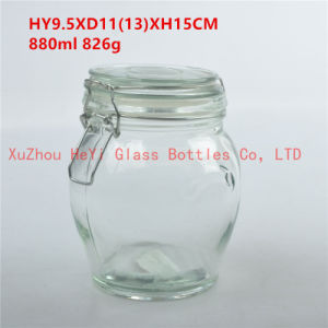 Glass Storage Jar Food Glass Jar with Glass Lid 880ml