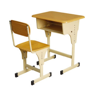 High Quanlity Adjustable Modern Student Desk Single Wooden School Desks and  Chairs