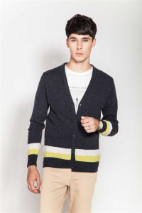 Rib Knit V-Neck Men 100%Cashmere Cardigan pictures & photos