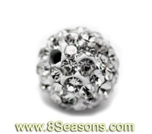 "Clear Pave Rhinestone Ball Beads. Fits Bracelet 8mm (3/8"") (B16609)"