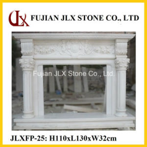 Chinese White Marble Stone Carving Fireplace Mantel