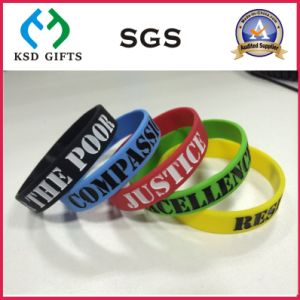Debossed Color Filled Silicone Rubber Wristband (KSD-837) pictures & photos