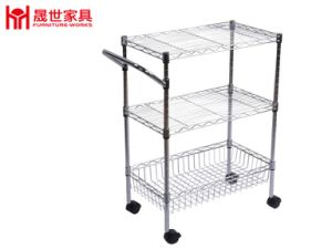 3-Tier Storage and Utility Cart with Wheels Display Shelf