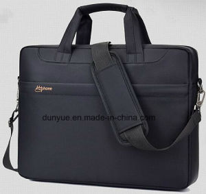 "Black Simple Design Low MOQ Promotional Nylon Laptop Messenger Bag, Multifunctional Laptop Single Shoulder Bag Fit for 15.6"" Laptop"