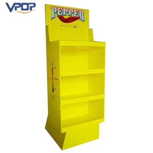 Yellow Color Printed Cardboard Pepper Display Stand for Supermarket