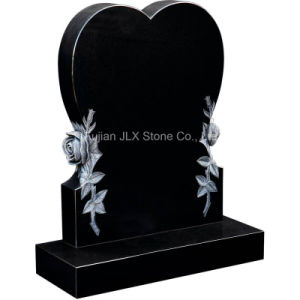 Modern Wholesale Black Granite Heart Headstone with Roses