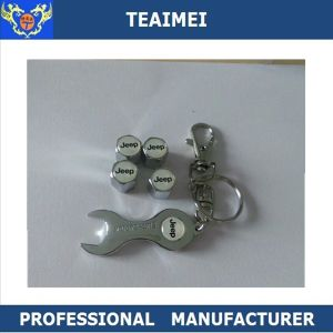 Metal Car Logo Wheel Tire Valve Dust Cap with Spanner