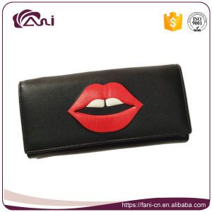 Big Red Mouth Printed Lady Women′s Leather Clutch Wallet Purse pictures & photos