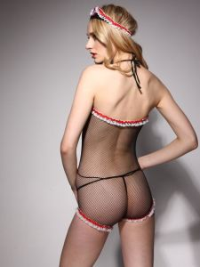 Woman Lace Erotic Lingerie Sexy Costume Bodysuit with Lace-up Front pictures & photos