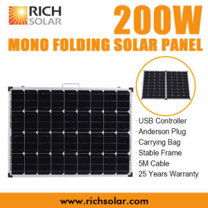 200W 12V Mono Photovoltaic Folding Solar Panel for Home Use