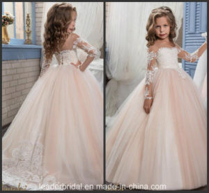 Lace Junior Bridesmaid Gowns Pearls Tulle Flower Girl Dress Z1051 pictures & photos