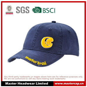 Navy Cotton Soft Panel Wash Cap with Yellow Embroidery