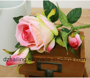 Single Stem Rose Pick Artificial Flower for Wedding Decoration (SW03334)