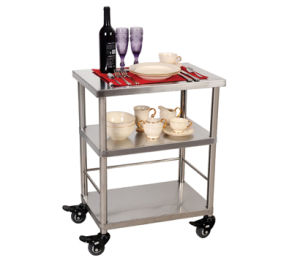 Hotel Service Food Cart, Stainless Steel Kitchen Food Handcart With 3  Shelves Rcs Fam01