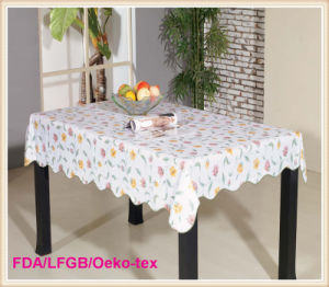 Wholesale Printed Plastic PVC Table Cloth with Nonwoven Backing pictures & photos