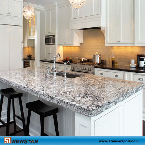 Newstar White Granite Vein Quartz Stone Kitchen Island Top