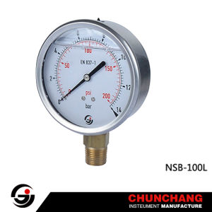 Stainless Steel Crimped Case Brass Connection Pressure Gauge